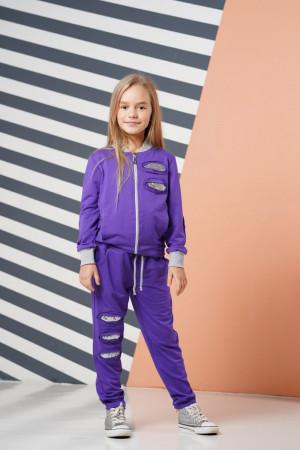 Фиолетовый спортивный костюм для девочек с пайетками