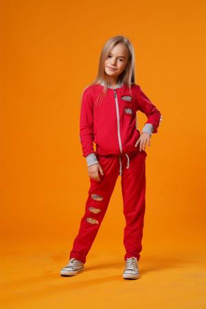 Коралловый спортивный костюм для девочек с пайетками