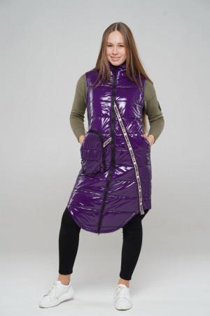 Стильный удлиненный жилет фиолетового цвета для девочек