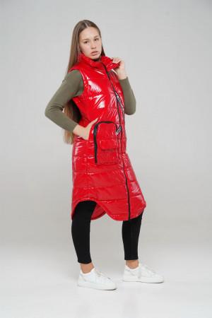 Удлиненный стильный желет для девочек красного цвета
