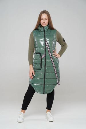Стильный удлиненный жилет оливкового цвета для девочек