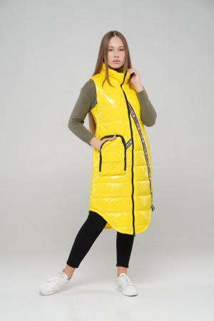 Удлиненный стильный жилет для девочек желтого цвета
