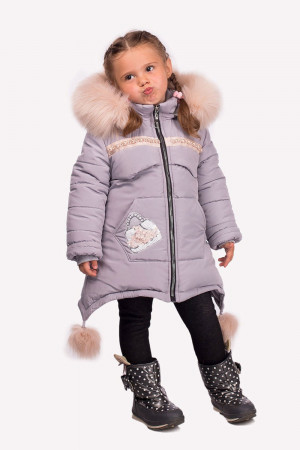 Зимова куртка для дівчаток сірого кольору