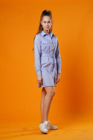 Платье-рубашка синего цвета