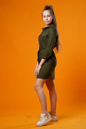 Платье-рубашка цвета хаки для девочек