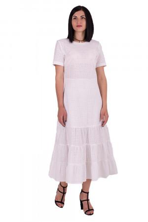 Молочное длинное платье