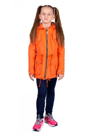 Оранжевая ветровка с капюшоном для девочек