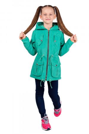 Мятная ветровка с капюшоном для девочек