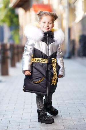 Куртка черная зимняя длинная с капюшоном для девочек