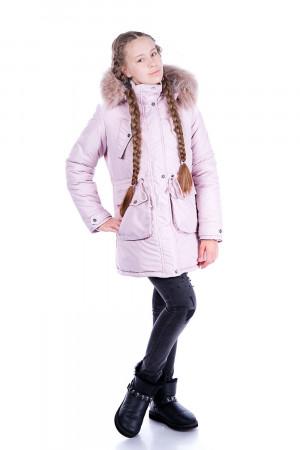 Зимняя парка для девочки-подростка пудрового цвета