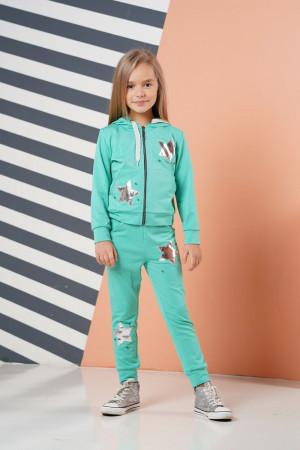 Пастельный спортивный костюм для девочек мятного цвета