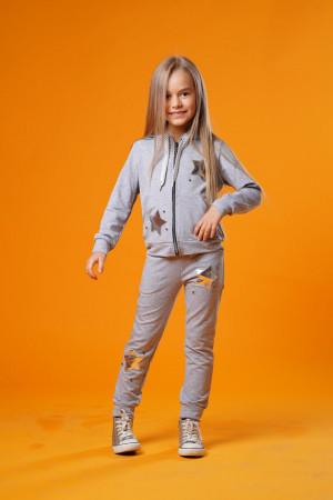 Оригинальный спортивный костюм для девочек светло-серого цвета