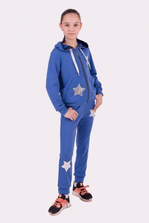 Оригинальный спортивный костюм для девочек синего цвета