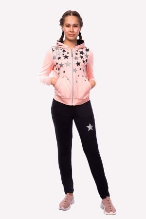 Свободный спортивный костюм для девочек цвета пудра