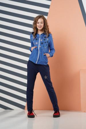 Свободный спортивный костюм для девочек синего цвета