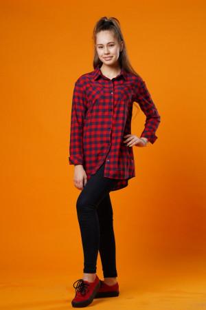 Рубашка для девочек красного цвета в клетку