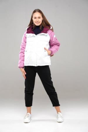 Трехцветная (бензин/орхидея/бордо) демисезонная куртка для девочек