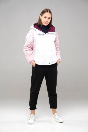 Трехцветная (бензин/полярная роза/бордо) демисезонная куртка для девочек
