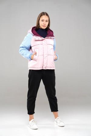 Трехцветная (полярная роза/голубой/бордо) демисезонная куртка для девочек