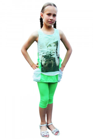 Туника с лосинами салатового цвета для девочек