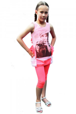 Туника с лосинами розового цвета для девочек
