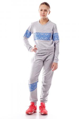 Спортивный костюм для девочек с принтом цвета электрик