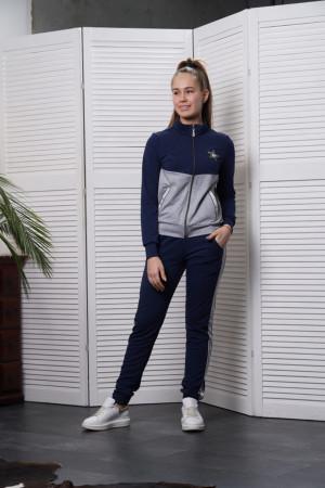 Спортивный костюм для девочек синий с серым