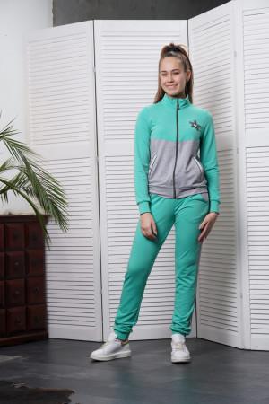 Спортивный костюм для девочек цвета ментол с серым
