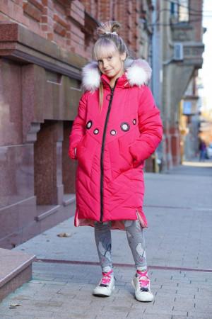 Ягодная зимняя куртка для девочек с пушистым капюшоном
